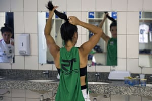 Sao Jose dos Campos, Brazi  Sao Jose football players prepare for a friendly match against the national team in their dressing room