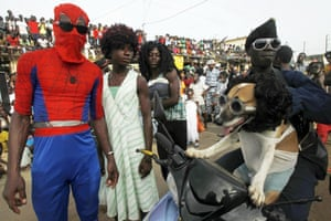 Bonoua, Ivory Coast People in fancy dress attend the annual Popo Carnival