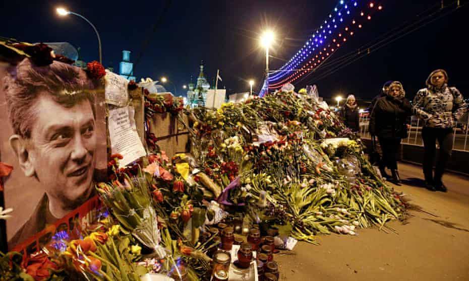Flowers on the bridge where Boris Nemtsov was killed