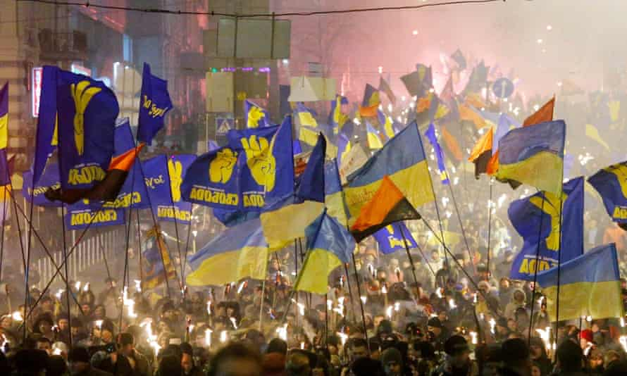Ukrainian nationalists march to mark the birthday of Stepan Bandera, a Ukrainian leader assassinated by the KGB.