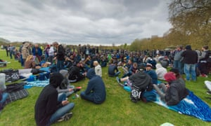 People attend the 4/20 pro-cannabis rally in Hyde Park, London, on Sunday.