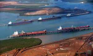 Bulk carriers are loaded with iron ore at Port Hedland in the Pilbara.