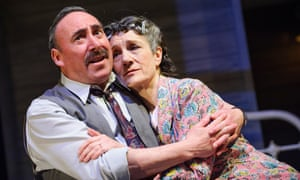 Antony Sher as Willy Loman with Harriet Walter as his wife Linda in Death of a Salesman by Arthur Miller at the Royal Shakespeare theatre.