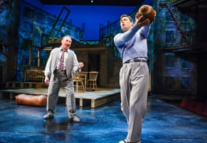 Antony Sher and Alex Hassell as Biff in Death of a Salesman at the RSC, directed by Gregory Doran.
