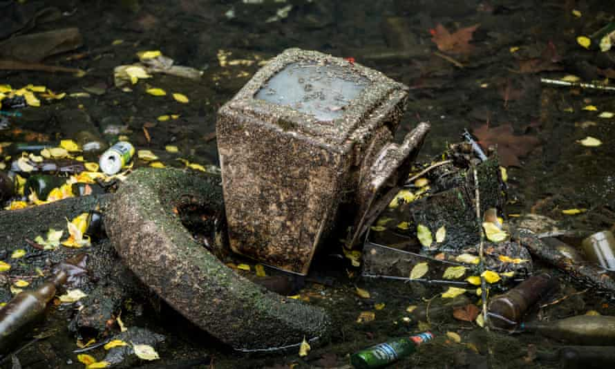 A monitor found during the clean-up of a stretch of the Regent's canal near Salmon Lane lock, London.