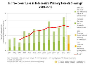 Forest cover loss in Indonesia 2001-2013.