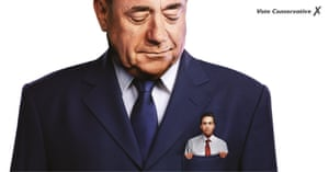 Undated handout photo issued by the Conservative Party of a poster featuring Labour party leader Ed Miliband in the pocket of former SNP leader Alex Salmond.