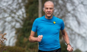Sir Ranolph Fiennes testing out new kit for the Marathon des Sables race, photographed in London.