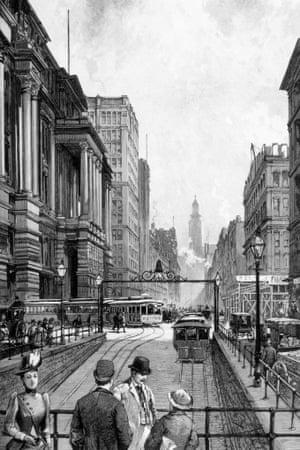 An artist's impression of LaSalle Street, Chicago in 1890