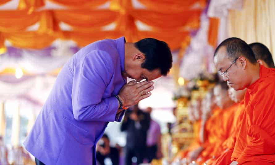 Prime minister Prayuth Chan-ocha attends a Buddhist ceremony on Thursday.