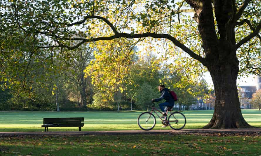 Cyclist at Jesus Green, Cambridge.
