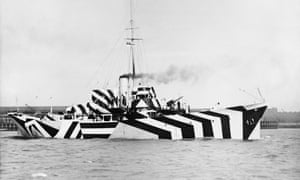 The first world war anti-submarine gunboat HMS Kildangan, pictured in its dazzle camouflage in 1918.