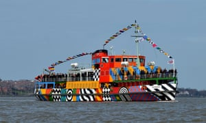 The Mersey ferry Snowdrop with its new 'dazzle' paintjob created by Sir Peter Blake