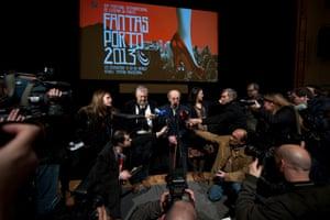 """Portuguese Film Director Manoel de Oliveira at the 70 anniversary of his iconic film """"Aniki Bobo"""" during the Fantasporto Film Festival at the Rivoli Theatre in Porto, 2013"""