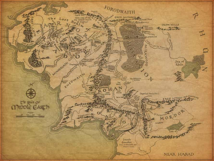 Map Of Middle-earth, hand-drawn by Tolkien.