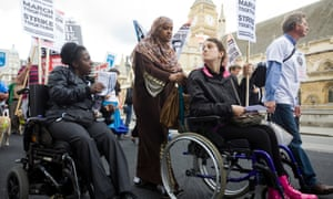 Disabled people protest against benefit cuts in Westminster, London, in 2011.