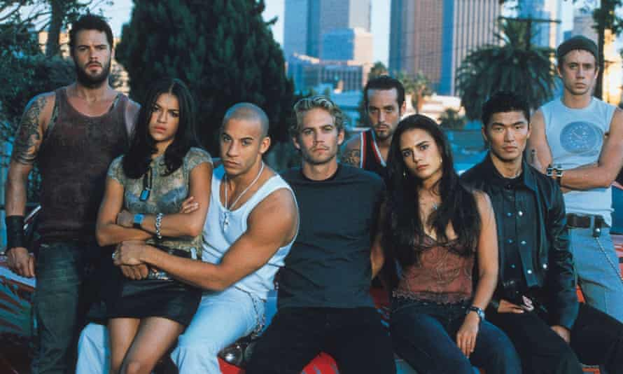 Paul Walker, centre, with the cast of 2001's The Fast and the Furious.