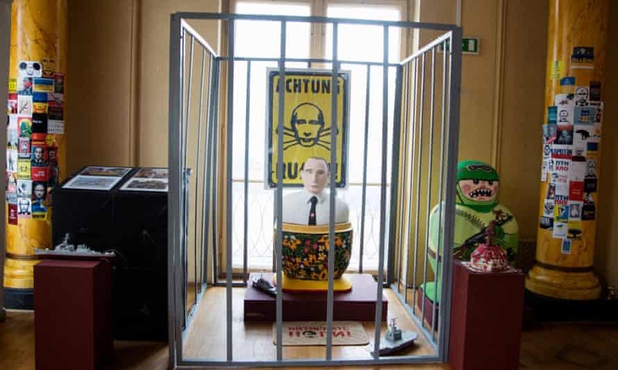 An anti-Putin installation inside the Ukrainian World museum and community centre.