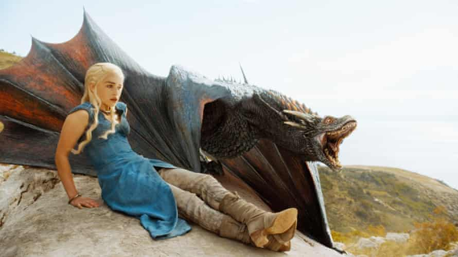 Daenerys Targaryen (Emilia Clarke) and dragon in Game of Thrones.