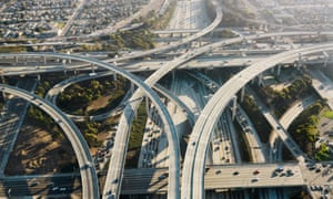 A highway interchange in Los Angeles.