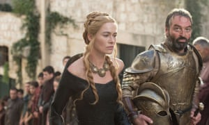 Lena Headey as Cersei Lannister and Ian Beattie as Meryn Trant in Game of Thrones.