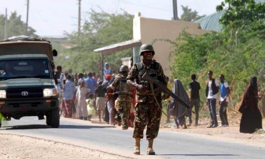 Military secure the area outside Garissa University College.