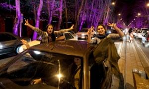Iranians celebrate in Tehran
