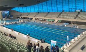 The London Aquatics Centre gets ready for the Swimathon