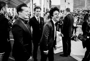 Tré Cool, Mike Dirnt and Billie Joe Armstrong of Green Day at the 2015 Rock and Roll Hall of Fame ceremony