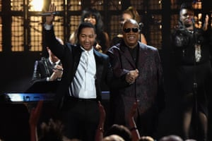 John Legend and Stevie Wonder at the 2015 Rock and Roll Hall of Fame ceremony