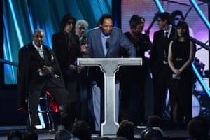 Billy Boy Arnold of the Paul Butterfield Blues Band at the 2015 Rock and Roll Hall of Fame induction ceremony