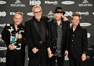 Jimmie Vaughan, left, with inductees Reese Wynans, Tommy Shannon and Chris Layton of Double Trouble at the 2015 Rock and Roll Hall of Fame induction ceremony