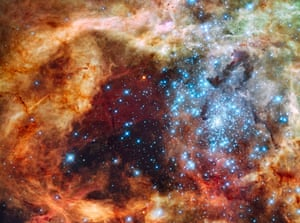 This image is of a young stellar grouping called R136, only a few million years old and situated in the 30 Doradus Nebula. The nebula itself is a turbulent star-birth region in the Large Magellanic Cloud (LMC), a satellite galaxy of our Milky Way. Several of those blue, diamond-like stars are over 100 times more massive than our Sun and are destined to become supernovas in a few million years.