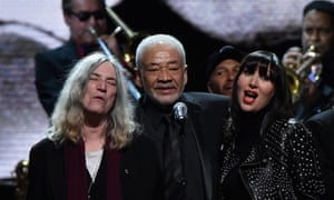 Patti Smith, left, Bill Withers and Karen O at the 2015 Rock and Roll Hall of Fame induction ceremony