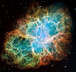 This composite image of the Crab Nebula was assembled from 24 individual exposures. It is one of the largest images taken by Hubble and is the highest resolution image ever made of the entire Crab Nebula, <br>a six-light-year-wide expanding remnant of a star's supernova explosion.