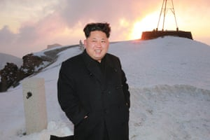 State media have reported that Kim Jong-un has reached the top of Mount Paektu with a team of state airforce pilots. At the peak he said: 'the spirit of the blizzards of [Mount] Paektu is the noble spirit the army and people of the DPRK should keep in their minds forever'<br><br>