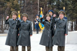 Members of the Korean People's Army cheered as Kim's speech linked the mountain with the 'soul of the Korean nation', said KCNA