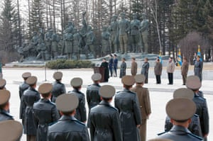 At the base Kim addressed members of the Korean People's Army calling Mount Paektu a 'spirited peak' and a site of historical significance