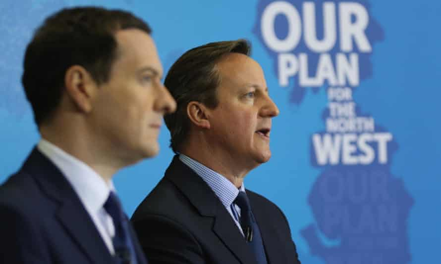 David Cameron and George Osborne address guests and supporters during a visit to Arriva Traincare in Crewe on Monday.