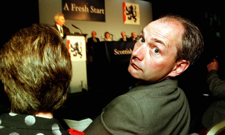 Michael Forsyth at a devolution debate at the Scottish Tory party conference in Perth in 1997