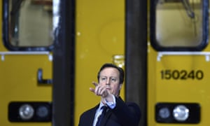 David Cameron during a visit to Arriva TrainCare maintenance plant in Crewe on Monday