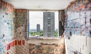 The high rise flats in Sighthill in the North of Glasgow. Half of the flats have been demolished but several flats remain in the area. Many of the residents left behind are asylum seekers and refugees.