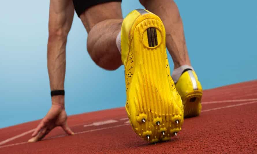 Runner on starting blocks