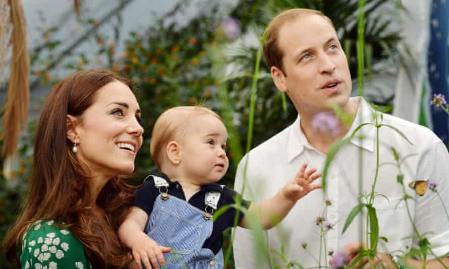 Prince William and Catherine, Duchess of Cambridge, with their son Prince George, during a visit to the Sensational Butterflies exhibition at the Natural History Museum, London.