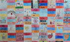 Artwork by pupils from the Rose & Alex Pilibos Armenian school in Los Angeles commemorating the 100th anniversary of the Armenian genocide.