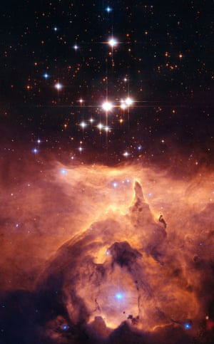 The star cluster Pismis 24 lies in the core of the large emission nebula NGC 6357. The bluest stars are the youngest, and part of the nebula is ionised by them. The ultraviolet radiation from the blazing stars heats the gas surrounding the cluster.