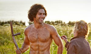 Poldark actor Aidan Turner says he finds it odd seeing pictures of himself withouty a shirt and carr