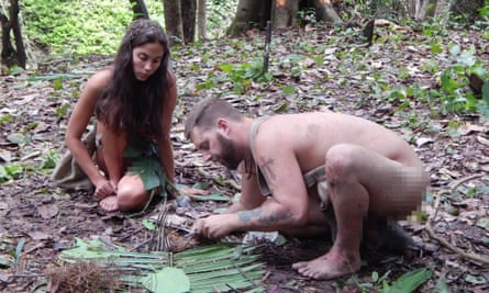 Two contestants on Naked and Afraid get to grips with their surroundings.