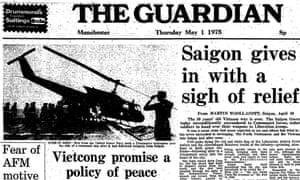 fall of saigon vietnam war Guardian front page 1 may 1975