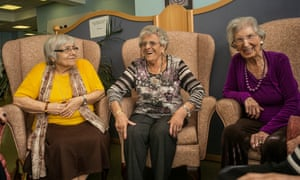 97-year-old Beatty Orwell, centre, part of Jewish Care's push to get care users to vote, with friends Marie Posner and Amelia Finger at a day centre in east London.